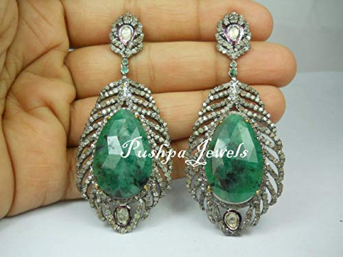 Estate Style Antique Finish 5.40cts Pave Diamond Uncut Polki Raw Natural Emerald Sterling Silver Long Earrings