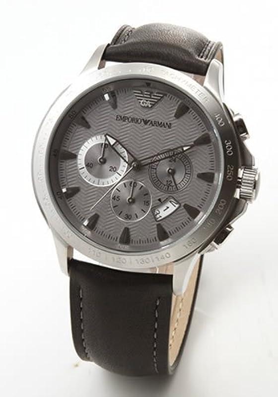 EMPORIO ARMANI 크로노 그래프 가죽 시계 AR0635