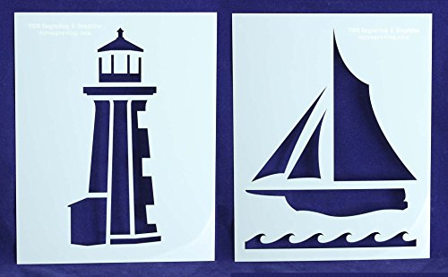 Lighthouse/Sailboat Stencils - 2 Piece Set - 8 X 10 Inches