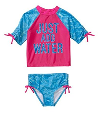 OP Baby Toddler Girl Bow Detail 2-piece Swimwear Rashguard Set (2t, Just add water)