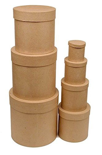 Set of 7 Ready To Decorate Nesting Tall Round Paper Mache Boxes for Crafting, Creating and Designing by DCC Crafts
