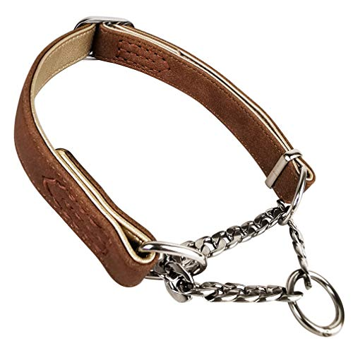 Fourhorse Leather Training Dog Collar, Martingale Collar, Stainless Steel Chain - for Small Medium Large Pets (M(13-18.5), Brown)