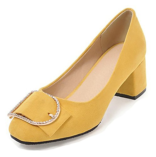 Aisun Women's Comfort Rhinestone Low Cut Square Tor Dressy Block Mid Heel Slip On Pumps Shoes (Yellow, 10 B(M) US) by Aisun