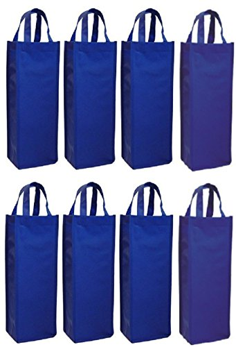 wish you have a nice day 8 Pack Non-Woven Single Bottle Wine Tote Bag Holder, Reusable Gift Bag (8, blue) ()