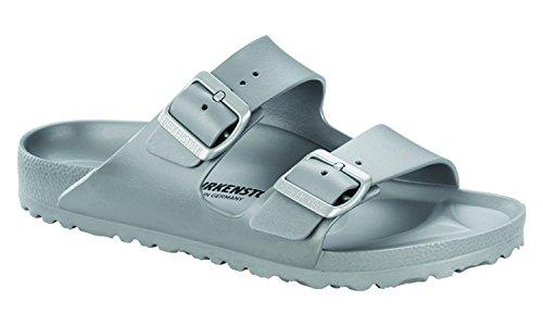 Birkenstock Unisex Arizona Essentials EVA Metallic Silver Sandals - 38 Narrow ()