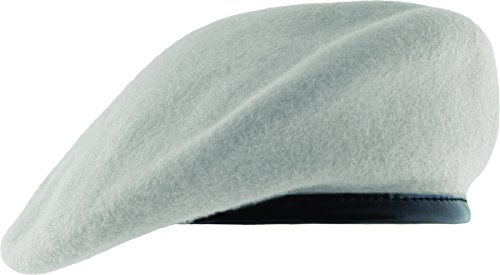 Unlined Beret with Leather Sweatband (7 3/8, White) (Marching Beret)