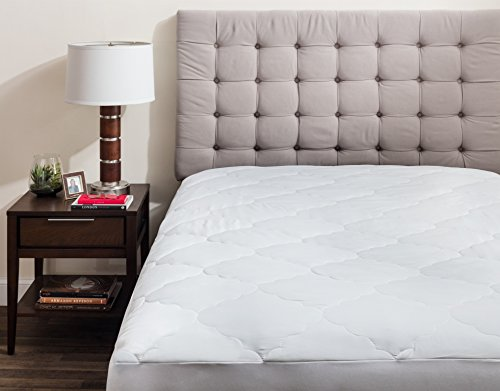 "Price comparison product image Micropuff Down Alternative Mattress Pad - White Quilted Fitted Mattress Topper (Queen Size - 60""x80"") Microfiber Mattress Cover Stretches up to 18"""