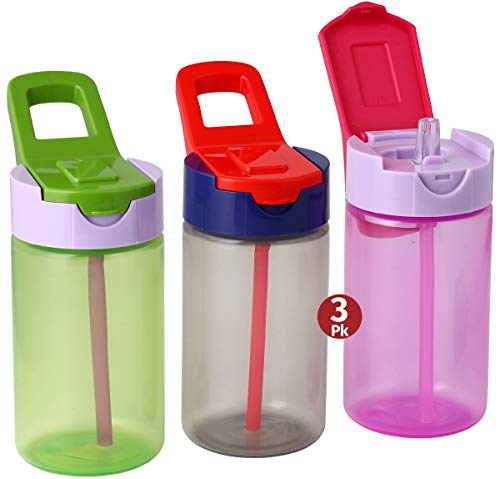 Herevin Water Bottles with Straw for Kids - 3 Pack Kids Drink Bottles with Carry Strap Handle - 3 Multi-Coloured Kids Leakproof Sports Water Bottles- 15oz (Multi Color)