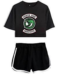 SERAPHY Riverdale Sets Crop top T-Shirts and Shorts for Girls and Women