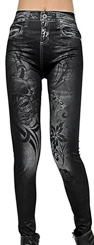 IF FEEL Coloful Skull Fashion Legging BlueItem 3D Digital Print Yoga Pants (one size, as shown)