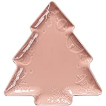 Creative Cute Ceramic Party Meal Plate, Pink Christmas Tree Shape