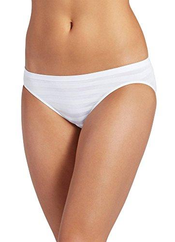 White Matte Spandex (Jockey Women's Underwear Matte & Shine Seamfree Bikini, White, 7)