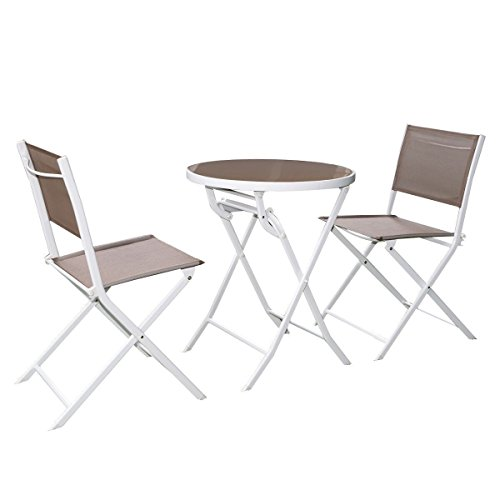 3 PC Folding Brown Bistro Set Outdoor Garden Table Chairs Patio Furniture - 3 Billard Light