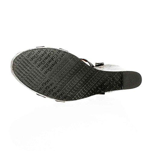 Calvin Klein Jennah Womens Size 8 Black Open Toe Wedge Sandals Shoes