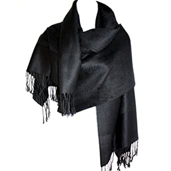 Silver Fever Jacquard Paisley Pashmina Shawl Scarf Stole By Silver Fever Brand (Black)