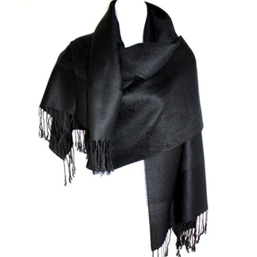- Silver Fever Jacquard Paisley Pashmina Shawl Scarf Stole By Silver Fever Brand (Black)