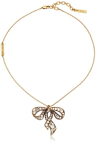 Marc Jacobs Bow Charms Crystal/Antique Gold Necklace,16