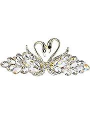 shengdekai Shiny Hairclip Crystal Swan Barrette Diamante Decor Vintage Hair Accessories for Girl Ladies