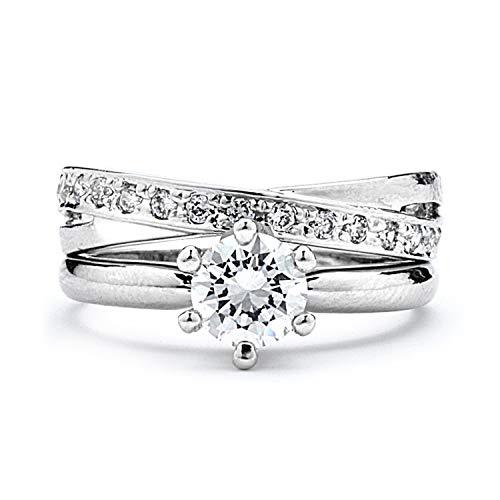 GemGem Jewelry Rhodium Plated 1ct CZ Round Cut Swirl Wedding Ring Set (6) ()