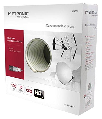 metronic cavo  Metronic 414221 Cavo Coassiale Tv/Sat Rg6 6.8 mm, Classe B: Amazon ...