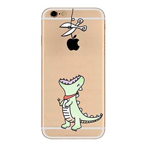 送料無料 無料届け iPhone 6/6s iP6sp ハードケース ケース カバー スマホケース クリアケース Clear Arts 可愛い恐竜 リンゴ穫る (iPhone6/iPhone6s, 緑) [並行輸入品]