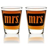 Mrs. & Mrs. Shot Glasses - Same Sex Gay Couple Set - Engagement, Wedding, Anniversary, House Warming, Hostess Gift, 1.75 oz
