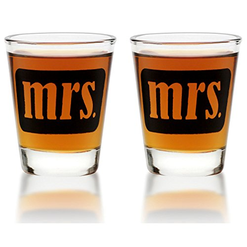 Mrs. & Mrs. Shot Glasses - Same Sex Gay Couple Set - Engagement, Wedding, Anniversary, House Warming, Hostess Gift, 1.75 oz by Smart Tart Design