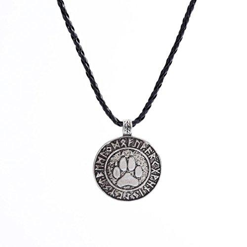 Laimeng Choker Nordic Vikings Print Bear Amulet Necklace Pendant The Norse Rune Talisman Bear (Silver)