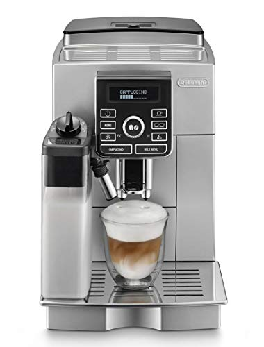 Delonghi super-automatic espresso coffee machine with an adjustable grinder, double boiler, milk frother, maker for brewing espresso, cappuccino, latte, macchiato. ECAM25462S