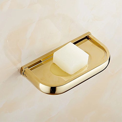 YUTU HZ1 Gold Solid Brass Bath Soap Dish Holder Antique Copper (Gold) (European Dish Accents Soap Brass)