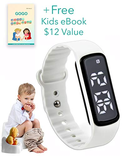 GOGO Potty Training Watch - Water Resistant Timer and Child Reminder- Toilet Trainer Alarm Watches for Boys, Girls, Kids and Toddlers with a Soft White Strap and Adjustable Alerts (Potty Training Watch For Toddlers)