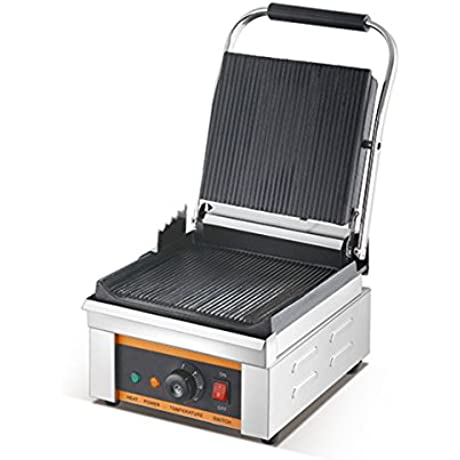 Commercial Electric Sandwich Maker Panini Grill 2500W 220V Grooved