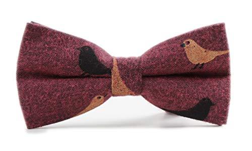- Men's Junior Fuchsia Pre-tied Tuxedo Adjustable Neck Bird Printed Novelty Bow Ties for Wedding Party