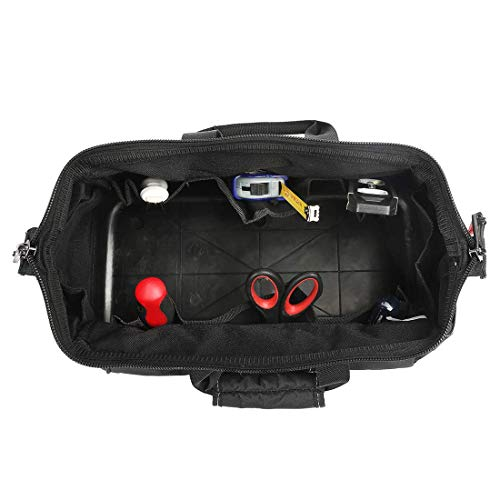 WORKPRO 16-inch Wide Mouth Tool Bag with Water Proof Molded Base Black/&Blue