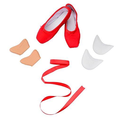 Scarpe Da Punta Da Balletto Per Ragazze Con Inserti In Gel Per Danza Rossa