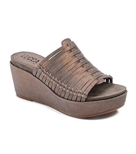 Lucca Lane Larissa Women's Sandals & Flip Flops Brushed Pewter Size 6.5 M (Lucca Woven Leather)