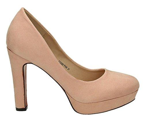 Klassische Damen Pumps Stilettos High Heels Plateau Abend Schuhe Bequem 360 Pink