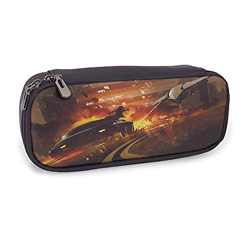 Halloween 5 Car Chase Scene (Pencil Case Bag, Double Zipper Modern Decor Outer Space Chase Scene of a Shuttle Aeroplane and a Car Fire on Road Artwork,)