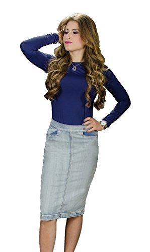 High Waist Denim Skirts (MoDDeals Womans Basic 5 Pocket, Front Pocket, High Waist Denim Pencil Skirts (Small, High Waist - Ice Wash))