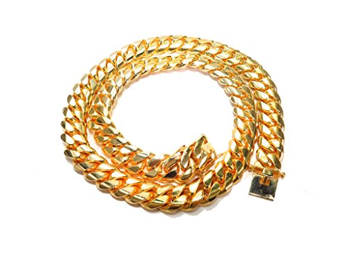 Genuine 14K Yellow Gold 36 Inches Heavy Miami Cuban Link Chain Necklace