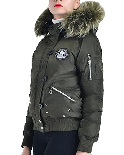 Comfy Women's Fluffy Collar Tactical Embroidered Anorak Jacket Army Green (Embroidered Anorak Jacket)