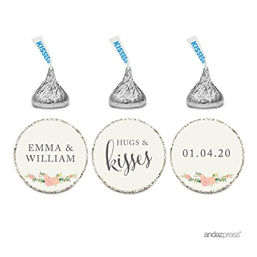 Andaz Press Personalized Wedding Chocolate Drop Label Stickers, Hugs and Kisses, Floral Roses, 216-Pack, For Engagement Bridal Shower Hershey's Kisses Party Favors