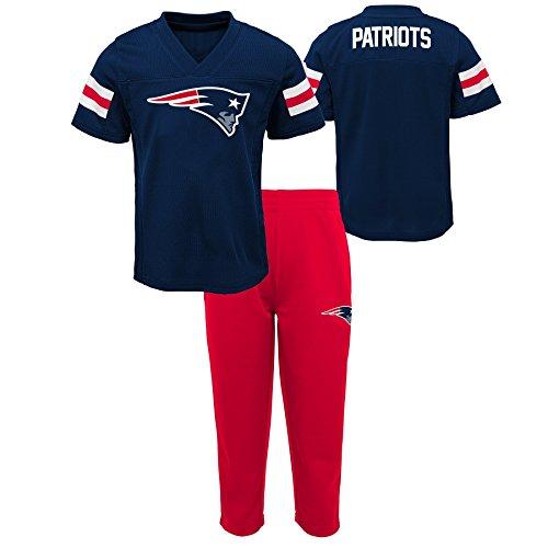 (Outerstuff NFL NFL New England Patriots Kids Training Camp Short Sleeve Top & Pant Set Dark Navy, Kids Medium(5-6))