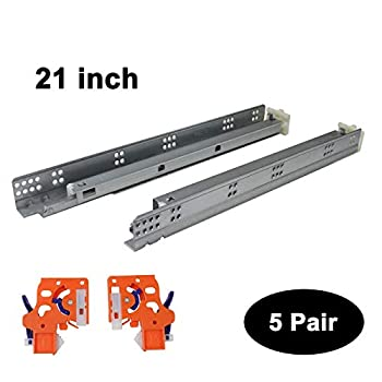 Image of 5 Pairs Self Soft Close Under/Bottom Rear Mounting Drawer Slides 21 inch Concealed Drawer Runners;Locking Devices;Rear Mounting Brackets;Screws and Instructions Home Improvements