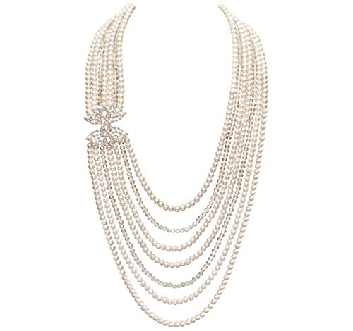 Pearl Cluster Necklace Long - Coucoland Audrey Hepburn Inspired Pearl Necklace Inspired by Breakfast at Tiffany's 1920s Gatsby Imitation Pearls Necklace with Crystal Brooch Bridal Pearl Jewelry Sets (Rose Gold)