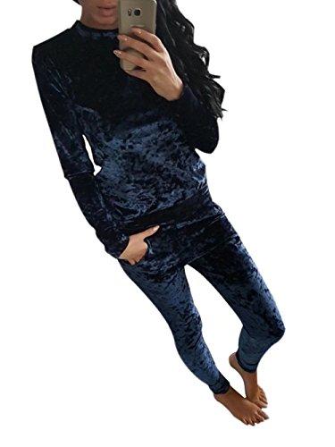 Velour Sweatsuits for Women 2 Pieces Outfits Tracksuit Jogging Jog Set Blue ()