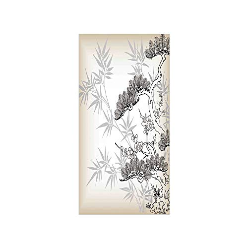 3D Decorative Film Privacy Window Film No Glue,Japanese,Asian Style Bamboo Birch and Flower Twiggy Petals Pine Silhouettes Floral Pattern,Ecru Black,for Home&Office