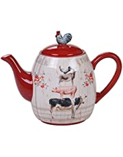 Certified International 26746 Farmhouse Teapot 36 oz. Servware, Serving Acessories, Multicolred
