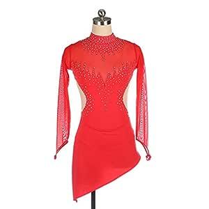 Heart&M Vestido Rojo de Patinaje artístico para Mujer, Traje ...