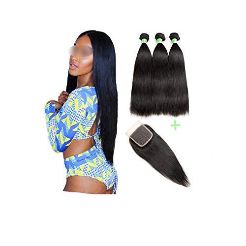 Brazilian Straight Hair Bundles With Closure Hair Weave Bundles With Closure Remy Human Hair 3 Bundles With Closure,20 22 24 26 & closure18,Medium Brown Closure,Free Part]()